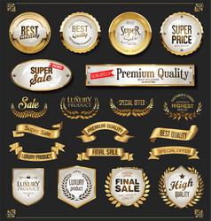 a collection of various golden badge and labels vector image