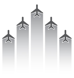 Airplane silhouettes with tracks vector