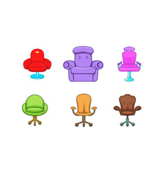 armchair icon set cartoon style vector image