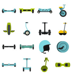 Balancing scooter icons set in flat style vector