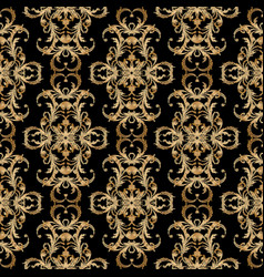 baroque embroidery seamless pattern black vector image