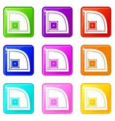 baseball field icons 9 set vector image