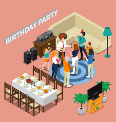 birthday party isometric composition vector image