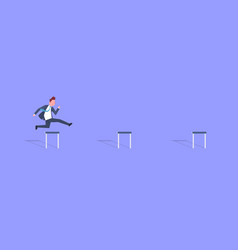 Business man jumping over obstacle successful vector