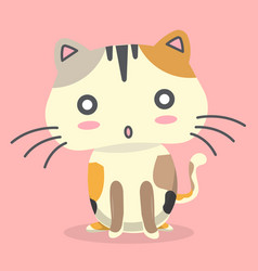 cartoon cat surprisingly emotion pink background v vector image