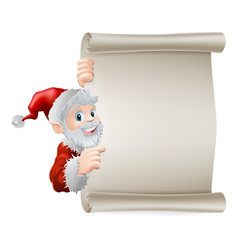 cartoon santa christmas scroll vector image