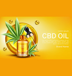 cbd oil banner mockup hemp cannabinoid extract vector image