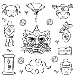 Chinese New Year of doodles element vector