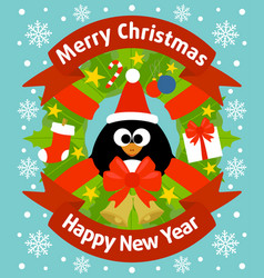 christmas and new year background card with pengui vector image
