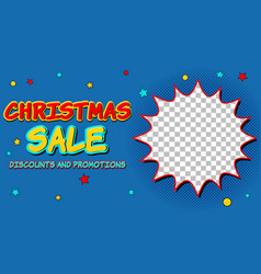 christmas sale comic advertising concept vector image