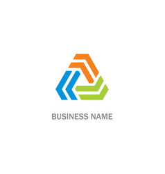 circle triangle shape colored company logo vector image