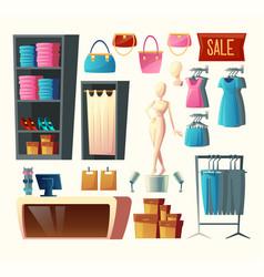 Clothing shop set fashion boutique vector