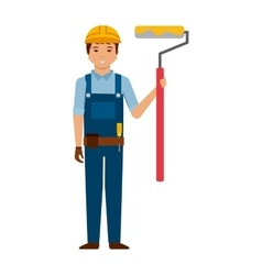 construction worker cartoon icon vector image