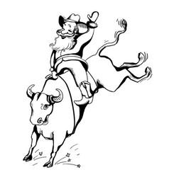 cowboy santa on rodeowestern rodeo bull riding vector image