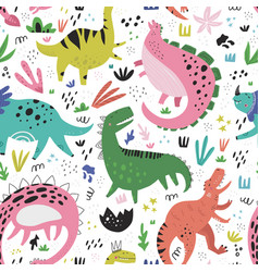 cute dinosaurs hand drawn color seamless vector image