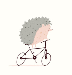 Cute little hedgehog cycling riding bicycle vector