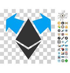 Ethereum spend arrows icon with bonus vector