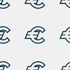 Euro EUR icon sign Seamless pattern with geometric vector image