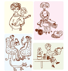 family sketches vector image