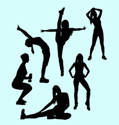Female pilates sport exercise healthy silhouette vector
