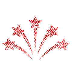 fireworks burst fabric textured icon vector image