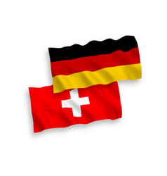 Flags switzerland and germany on a white vector