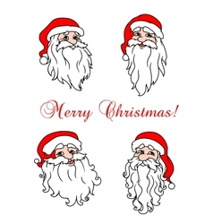 Four cheerful Santa Clouses vector image
