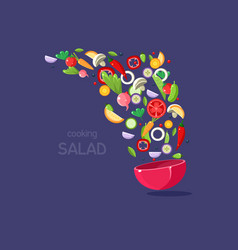 fresh vegetables flying into a bowl cooking salad vector image