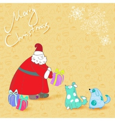fun christmas card santa and blue dogs vector image