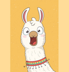 Funny cartoon llama vector