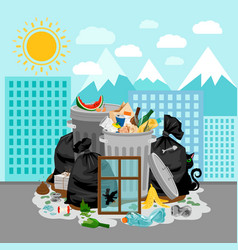 Garbage dump on urban landscape background vector