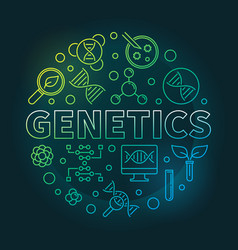Genetics circular colored outline vector