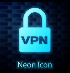 Glowing neon lock vpn icon isolated on brick wall vector
