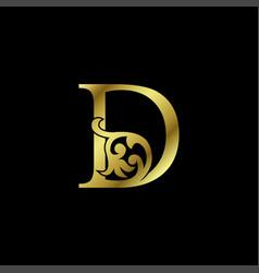 Gold luxury letter d ornament logo alphabet vector