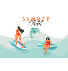 Hand drawn abstract summer time funny vector