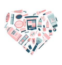 hand drawn cosmetics set professional makeup vector image