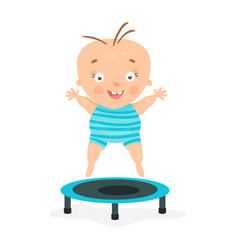 happy cartoon baby boy jumping on a trampoline vector image