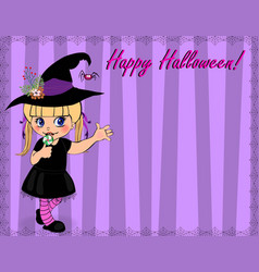 Happy halloween greeting card template of cute vector