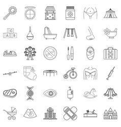 Hereditary icons set outline style vector