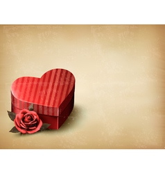 Holiday vintage Valentines day background Red rose vector image