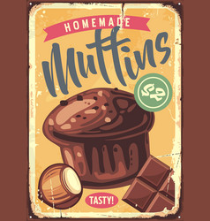 homemade muffins retro sign vector image