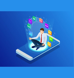 isometric programmer working in a software vector image