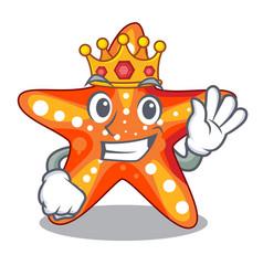 king underwater sea in the starfish mascot vector image