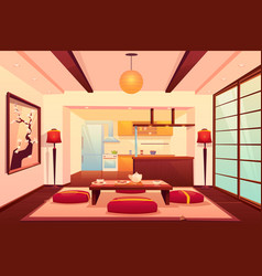 Kitchen in asian style chinese japanese room vector