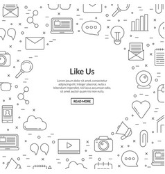 line blog icons background with place for vector image