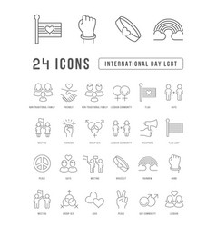 Line icons international day lgbt vector
