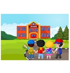 Little kids are going to school vector image