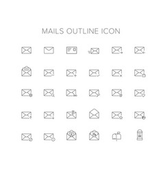 Mails line icon set vector