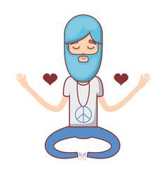 Man meditation with hearts and beard vector
