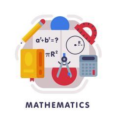 mathematics school subject icon education and vector image